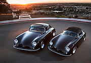 Image of a black 1958 Porsche 356 Coupe and a 1958 Porsche Speedster in Long Beach, California, America west coast, property released