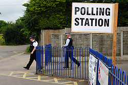 © Licensed to London News Pictures. 08/06/2017<br /> Cudham School polling station Jail Lane, Biggin Hill,Kent. <br /> Police check up on security. Nigel Farage cast his vote here last year for the EU Referendum.<br /> UK General Election polling day. <br /> Photo credit: Grant Falvey/LNP
