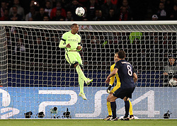 Fernando of Manchester City heads the ball clear of the goal - Mandatory by-line: Robbie Stephenson/JMP - 06/04/2016 - FOOTBALL - Parc des Princes - Paris,  - Paris Saint-Germain v Manchester City - UEFA Champions League Quarter Finals First Leg
