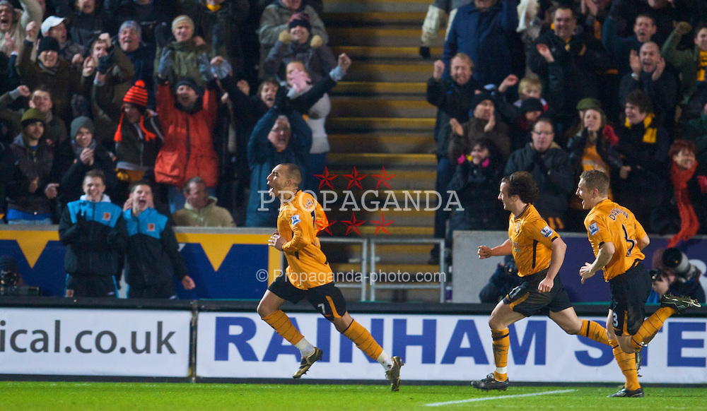 HULL, ENGLAND - Sunday, December 27, 2009: Hull City's Craig Fagan celebrates scoring the equalising goal from the penalty spot against Manchester United during the Premiership match at the KC Stadium. (Photo by David Rawcliffe/Propaganda)