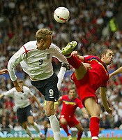 Photo: Aidan Ellis.<br /> England v Andorra. European Championships 2008 Qualifying. 02/09/2006.<br /> England's Peter Crouch gets in a header