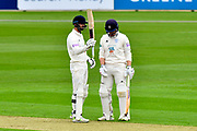 50 for Vince - James Vince of Hampshire celebrates scoring a half century during the Specsavers County Champ Div 1 match between Hampshire County Cricket Club and Worcestershire County Cricket Club at the Ageas Bowl, Southampton, United Kingdom on 13 April 2018. Picture by Graham Hunt.
