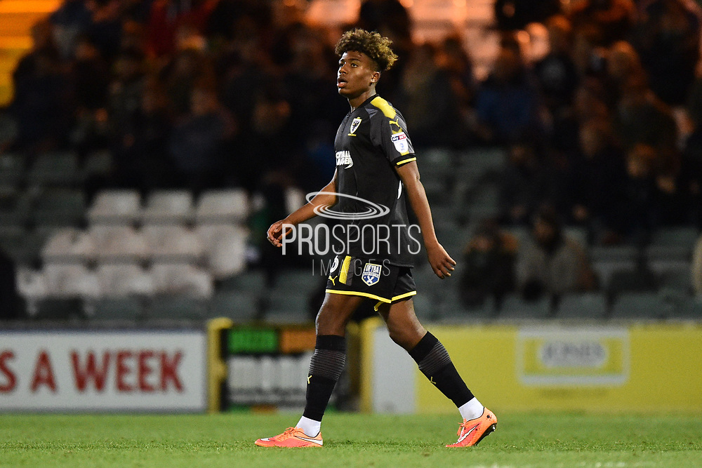 Ossama Ashley (36) of AFC Wimbledon during the EFL Trophy match between Yeovil Town and AFC Wimbledon at Huish Park, Yeovil, England on 5 December 2017. Photo by Graham Hunt.