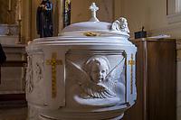 Baptismal basin in Catholic church, Washington D.C., USA.