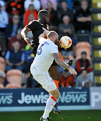 SCOTT CUTHBERT LUTON TOWN HOLDS OF BARNETS JOHN AKINDE, Barnet v Luton Town, EFL Sky Bet League 2 The Hive, Saturday 8th April 2017 Score 0-1<br /> Photo:Mike Capps