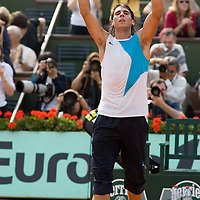04 June 2007: Spanish player Rafael Nadal celebrates during the French Tennis Open fourth round match won 6-3, 6-1, 7-6 (7/5) by Rafael Nadal over Lleyton Hewitt on day 9 at Roland Garros, in Paris, France.