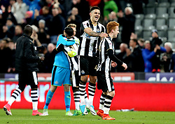 Aleksandar Mitrovic of Newcastle United and Jack Colback of Newcastle United celebrate promotion the the Premier League - Mandatory by-line: Robbie Stephenson/JMP - 24/04/2017 - FOOTBALL - St James Park - Newcastle upon Tyne, England - Newcastle United v Preston North End - Sky Bet Championship