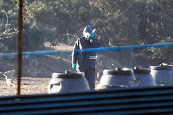 © Licensed to London News Pictures. 25/01/2017. Pilling UK. Picture shows Defra inspectors on a Pheasant farm in Pilling where the H5N8 strain of Avian Flu was confirmed by the UK's chief veterinary officer. a number of the farmed breeding pheasants at the premises have died & those remaining will be culled. A 3km protection zone & a 10km surveillance zone have been put in place around the infected area to limit the risk of the disease. Photo credit: Andrew McCaren/LNP