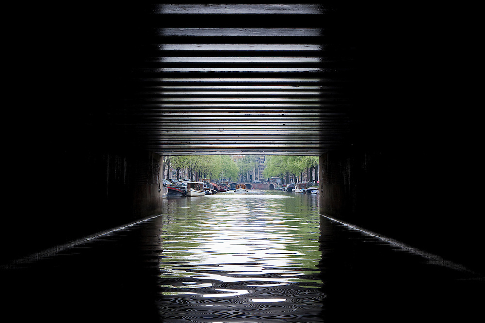 View from under a canal bridge, Prinsengracht, Amsterdam