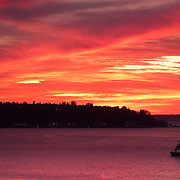Sunset over Elliott Bay seen from the Pike Place Market, Seattle, Washington