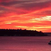 Sunset over Elliott Bay seen from the Pike Place Market, Seattle, Washington