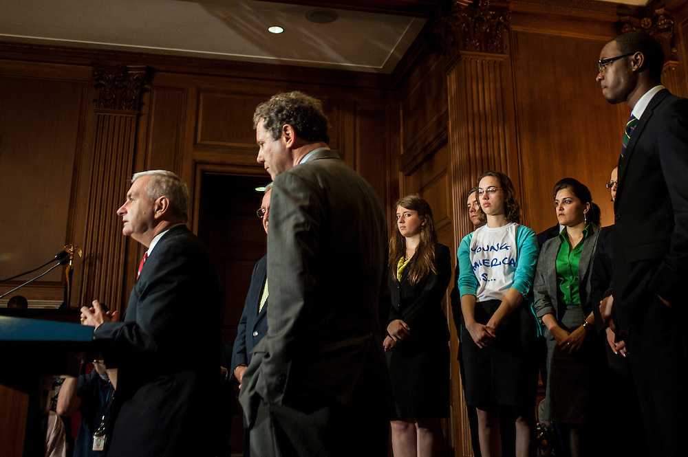"Senator JACK REED (D-RI) speaks during a news conference with college students and recent graduates on Capitol Hill to call for the passage of S.2343, ""The Stop the Student Loan Interest Rate Hike Act of 2012."" A vote to proceed to debate on the bill is scheduled in the Senate at noon today."