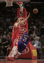 October 21, 2018 - Los Angeles, California, U.S - Patrick Beverley #21 of the Los Angeles Clippers takes a shot as he falls during their NBA game with the Houston Rockets on Sunday October 21, 2018 at the Staples Center in Los Angeles, California. (Credit Image: © Prensa Internacional via ZUMA Wire)