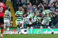 14th October 2017, Celtic Park, Glasgow, Scotland; Scottish Premiership football, Celtic versus Dundee; Celtic's Olivier Ntcham is congratulated after scoring for 1-0 by Celtic's Eboue Kouassi