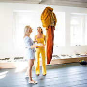 """18.05.2018.          <br /> More than 500 people attended the flagship event of the inaugural Unwrap LSAD Fashion Festival in Limerick.<br /> <br /> Graduate Aoife McNamara, Mungret Co. Limerick is pictured with Nicola Long, Castletroy Limerick with Aoife's Design, Anáil (breath).<br /> <br /> The Limerick School of Art & Design, LIT, Fashion Design Graduate Exhibition and launch of the """"The Fashion Film"""" at Limerick City Gallery of Art, in partnership with EVA International, attracted hundreds of people from the world of fashion. <br /> <br /> A total of 27 fashion graduates presented their designs alongside the specially commissioned film by fashion stylist and creative director Kieran Kilgallon and videographer Albert Hooi. Picture: Alan Place"""