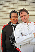 Alejandro Escovedo and Michael Hall after performing in Austin Texas, December 6, 2008.