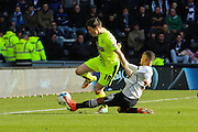 Derby County defender Marcus Olsson challenges Huddersfield Town midfielder Joe Lolley during the Sky Bet Championship match between Derby County and Huddersfield Town at the iPro Stadium, Derby, England on 5 March 2016. Photo by Aaron Lupton.