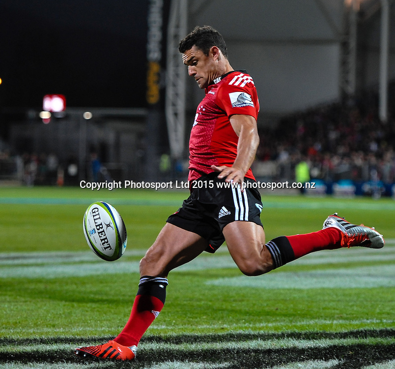 Dan Carter of the Crusaders  in the Super Rugby match, Crusaders v Rebels at AMI Stadium, Christchurch, New Zealand 13 February 2015. Photo:John Davidson/www.photosport.co.nz