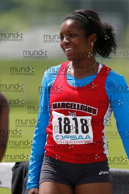 (London, Ontario}---04 June 2010) Cassandra Pascal of St. Marcellinus - Mississauga competing in the 100 meters at the 2010 OFSAA Ontario High School Track and Field Championships. Photograph copyright Dave Chidley / Mundo Sport Images, 2010.