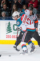 KELOWNA, CANADA - APRIL 25: Tyrell Goulbourne #12 of the Kelowna Rockets skates with the puck against the Portland Winterhawks on April 25, 2014 during Game 5 of the third round of WHL Playoffs at Prospera Place in Kelowna, British Columbia, Canada. The Portland Winterhawks won 7 - 3 and took the Western Conference Championship for the fourth year in a row earning them a place in the WHL final.  (Photo by Marissa Baecker/Getty Images)  *** Local Caption *** Tyrell Goulbourne;