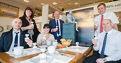 Left to right Events Fundraiser Ash Corker, Rotherham Hospice Fundraising Team Leader Anne Giblin, Cake Artist Rose Dummer, Oak Furniture Land Rotherham Store Manager Jez Groom, and Sales Advisors Ryan Jones and Paul Senior enjoy a Celebration Breakfast with Man of Steel at the opening of the Oak Furniture Land Rotherham Store. The cake will be donated to Rotherham Hospice who will use it to help raise funds<br /> <br /> 3 June 2015<br />  Image &copy; Paul David Drabble <br />  www.pauldaviddrabble.co.uk