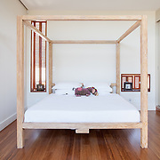 Modern residential bedroom, bed.<br />
