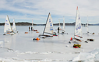 Ames Farm beach filled with visitors from the New England Yacht Association for a day of ice sailing on Lake Winnipesaukee.  (Karen Bobotas Photographer)