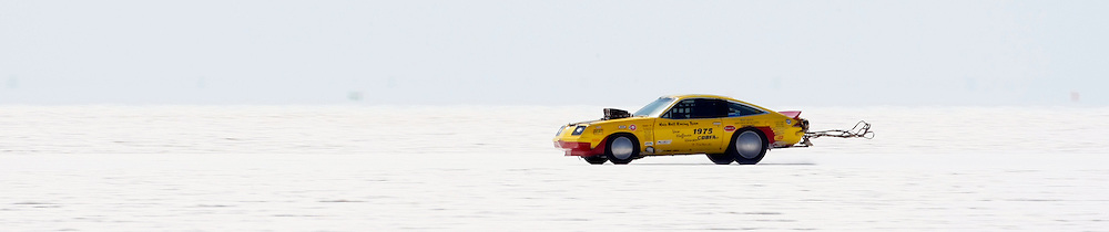 The 1975 Chevy Monza of Hairball Racing from Phelan, CA. makes a run at the 61st Annual Bonneville Speed Week on the Bonneville Salt Flats in Utah. August 8-14, 2009. Photo by Colin E. Braley