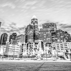 Charlotte skyline black and white panorama photo with Romare Bearden Park and downtown Charlotte city buildings. Charlotte, North Carolina is a major city in the Eastern United States of America. Panorama photo ratio is 1:3.
