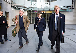 "© Licensed to London News Pictures. 10/11/2018. London, UK. JO JOHNSON MP (right) and his father STANLEY JOHNSON (left) leave BBC Broadcasting House in London after JO JOHNSON resigned as transport minister yesterday. Mr Johnson, brother of former foreign secretary Boris Johnson, resigned his ministerial post saying it's ""imperative we go back to the people and check"" they still want to leave. Photo credit: Ben Cawthra/LNP"