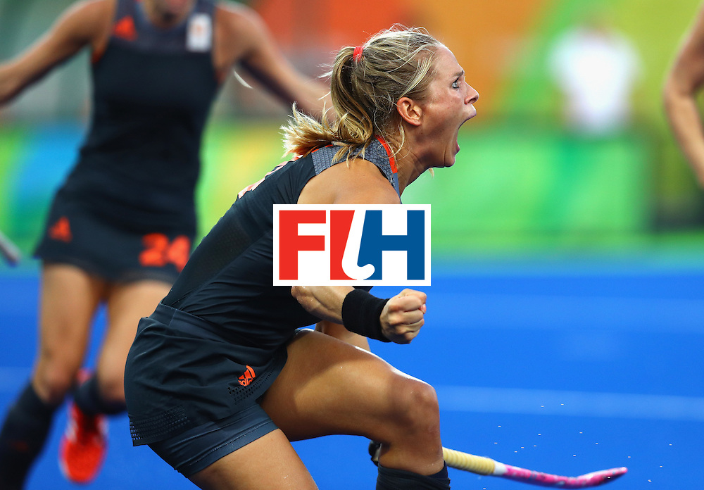 RIO DE JANEIRO, BRAZIL - AUGUST 19:  Kitty van Male of Netherlands celebrates scoring the equalising goal to make score 1-1 during the Women's Gold Medal Match against the Netherlands on Day 14 of the Rio 2016 Olympic Games at the Olympic Hockey Centre on August 19, 2016 in Rio de Janeiro, Brazil.  (Photo by Tom Pennington/Getty Images)