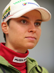 Teja Gregorin at the press conference of Slovenian biathlon team before the World Chamionship in Sweden, ÷stersund, in Ljubljana on February 5, 2008. (Photo by Vid Ponikvar / Sportal Images).