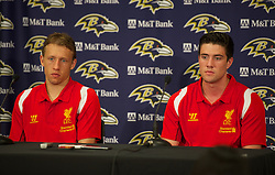BALTIMORE, MD - Friday, July 27, 2012: Liverpool's Lucas Leiva and Martin Kelly during a press conference ahead of the pre-season friendly match against Tottenham Hotspur at the M&T Bank Stadium. (Pic by David Rawcliffe/Propaganda)