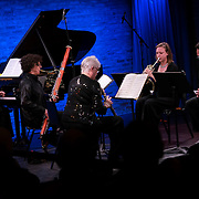 """February 9, 2015 - New York, NY : From left, pianist Eric Huebner, bassoonist Kim Laskowski, oboist Sherry Sylar, Leelanee Sterrett (horn), and clarinetist Mark Nuccio perform the New York premiere of Avner Dorman's 'Jersusalem Mix' as part of The New York Philharmonic and the 92nd Street Y's presentation of """"Contact! New Music from Israel"""" at SubCulture in Manhattan on Monday night.  CREDIT: Karsten Moran for The New York Times"""