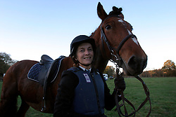 UK ENGLAND SURREY TILFORD 13NOV04 - Hunting first-timer Jane Harding poses with her horse after the hunt near the village of Tilford, southern Surrey. Foxhunting in rural Surrey with the Surrey Hunters Union, founded in 1798. ....jre/Photo by Jiri Rezac ....© Jiri Rezac 2004....Contact: +44 (0) 7050 110 417..Mobile:  +44 (0) 7801 337 683..Office:  +44 (0) 20 8968 9635....Email:   jiri@jirirezac.com..Web:    www.jirirezac.com....© All images Jiri Rezac 2004 - All rights reserved.