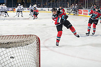 KELOWNA, CANADA - DECEMBER 7: Devin Steffler #4 of the Kelowna Rockets warms up with a shot on net against the Victoria Royals  on December 7, 2018 at Prospera Place in Kelowna, British Columbia, Canada.  (Photo by Marissa Baecker/Shoot the Breeze)