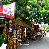Souvenir shops line a street in Playa del Carmen.