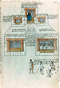 Montezuma II (1466-1620) last Aztec emperor in his palace, top. Judges, centre, Litigants, bottom. Early 16th century.