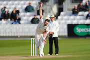 Lancashire's James Anderson bowling the last over of the day after Lancashire enforced the follow on during the Specsavers County Champ Div 1 match between Somerset County Cricket Club and Lancashire County Cricket Club at the County Ground, Taunton, United Kingdom on 3 May 2016. Photo by Graham Hunt.