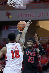 05 November 2017:  Delaney Blaylock challenged by Phil Fayne during aLewis College Flyers and Illinois State Redbirds in Redbird Arena, Normal IL