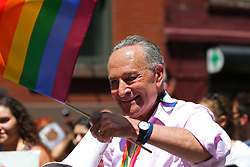 June 25, 2017 - New York City, New York, USA - Senator CHARLES SCHUMER, who promotes gay marriage legislature, is seen during the Pride Parade in New York. The first march was held in 1970. (Credit Image: © Anna Sergeeva via ZUMA Wire)
