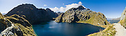 Lake Harris, and Mount Xenicus, on the Routeburn Track, Mount Aspiring National Park, South Island, New Zealand. In 1990, UNESCO honored Te Wahipounamu - South West New Zealand as a World Heritage Area. Panorama stitched from 5 overlapping photos.