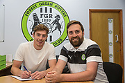Luke James signs for Forest Green Rovers at the New Lawn, Forest Green, United Kingdom on 13 July 2017. Photo by Shane Healey.