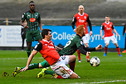 Ryan Taylor (19) of Plymouth Argyle is unable to reach a cross while being pressurised by Peter Murphy (8) of Morecambe during the EFL Sky Bet League 2 match between Plymouth Argyle and Morecambe at Home Park, Plymouth, England on 18 March 2017. Photo by Graham Hunt.