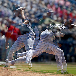 Mar 16, 2013; Tampa, FL, USA; (editors note: multiple exposure image) New York Yankees relief pitcher Mariano Rivera (42) throws against the Philadelphia Phillies during the top of the seventh inning of a spring training game at George Steinbrenner Field. Mandatory Credit: Derick E. Hingle-USA TODAY Sports