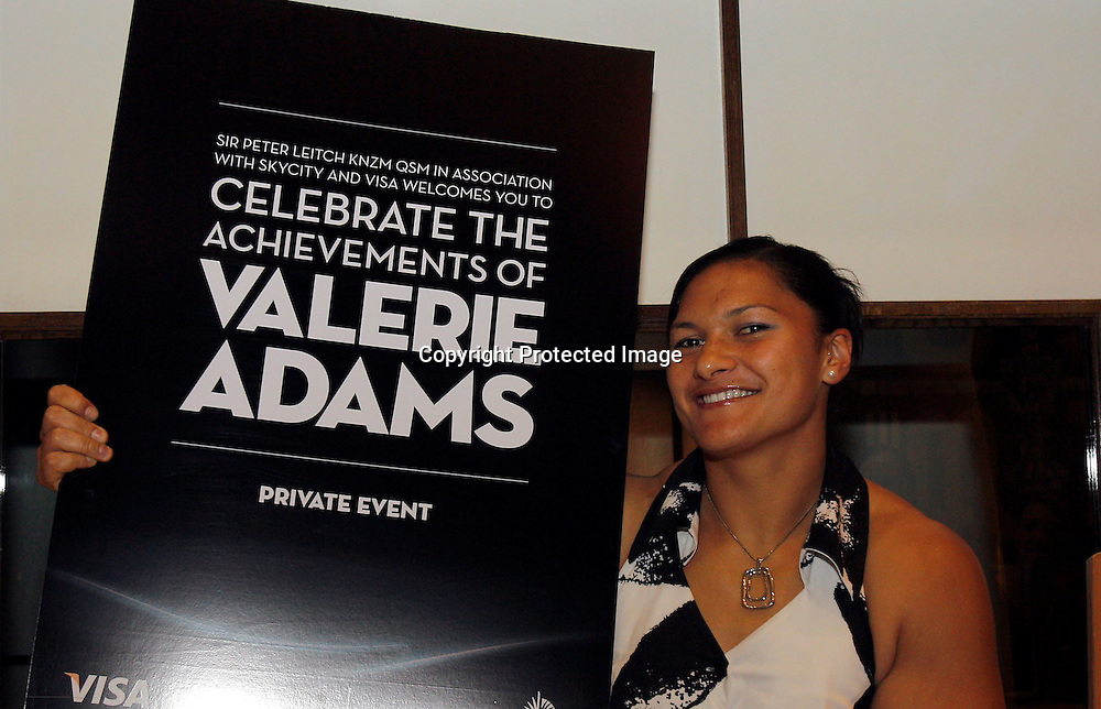 Olympic Shot Put Champion Valerie Adams during a private function to celebrate her achievements. Sky City Auckland, Thursday 23rd February 2012. Photo: Shane Wenzlick / photosport.co.nz