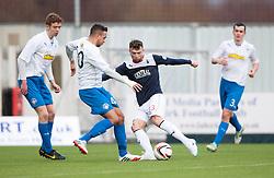 Morton's Darren Cole and Falkirk's Mark Millar.<br /> halt time ; Falkirk 0 v 1 Morton, Scottish Championship game today at The Falkirk Stadium.<br /> &copy; Michael Schofield.
