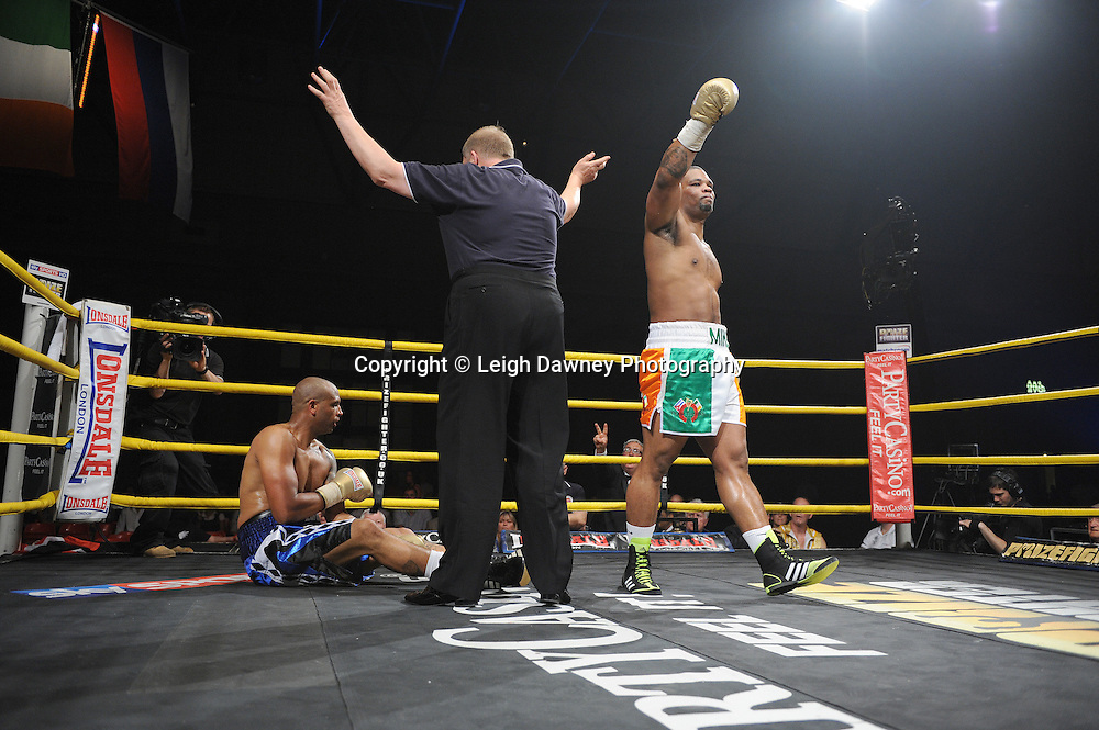 Mike Perez defeats Gregory Tony in Semi Final 1 at Prizefighter International on Saturday 7th May 2011. Prizefighter / Matchroom. Photo credit © Leigh Dawney. Alexandra Palace, London.