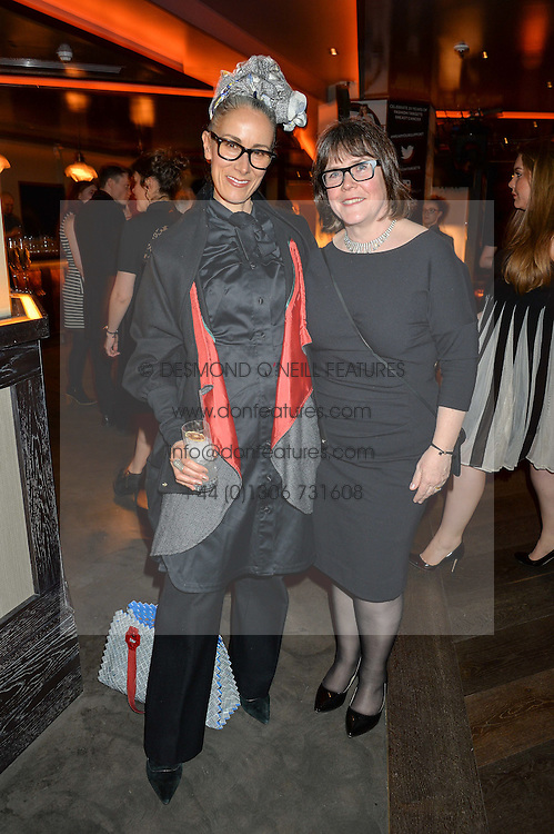 Left to right,  CARYN FRANKLIN and BARONESS DELYTH MORGAN at the Fashion Targets Breast Cancer 20th Anniversary Party held at 100 Wardour Street, Soho, London on 12th April 2016.
