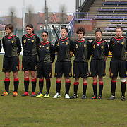 21120413 - HARELBEKE, BELGIUM : Team Belgium is pictured here during the Second qualifying round of U17 Women Championship between Switzerland and Belgium on Friday April 13th, 2012 in Harelbeke, Belgium.